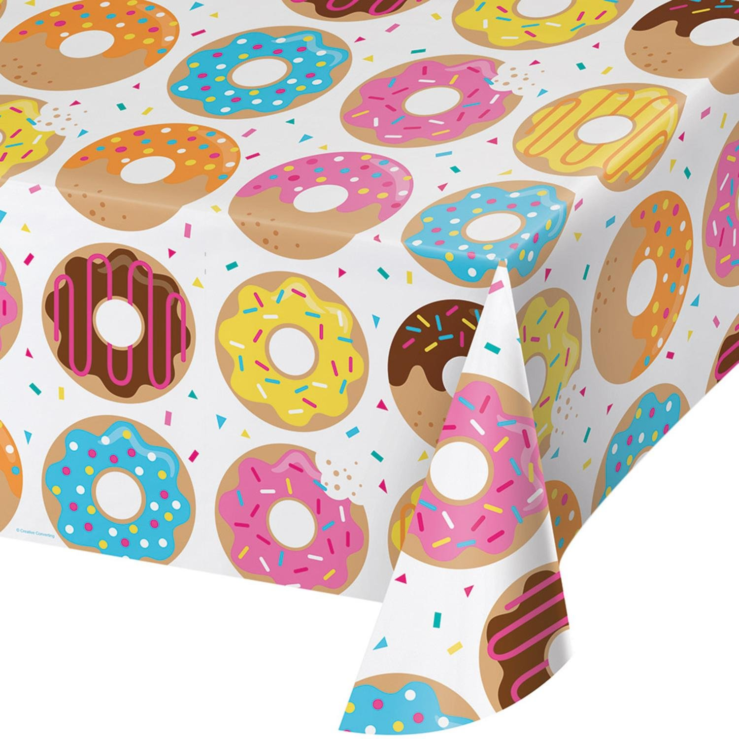 """Party Central Pack of 6 Vibrantly Colored Donut Time All Over Printed Plastic Table Cover 16.25"""""""