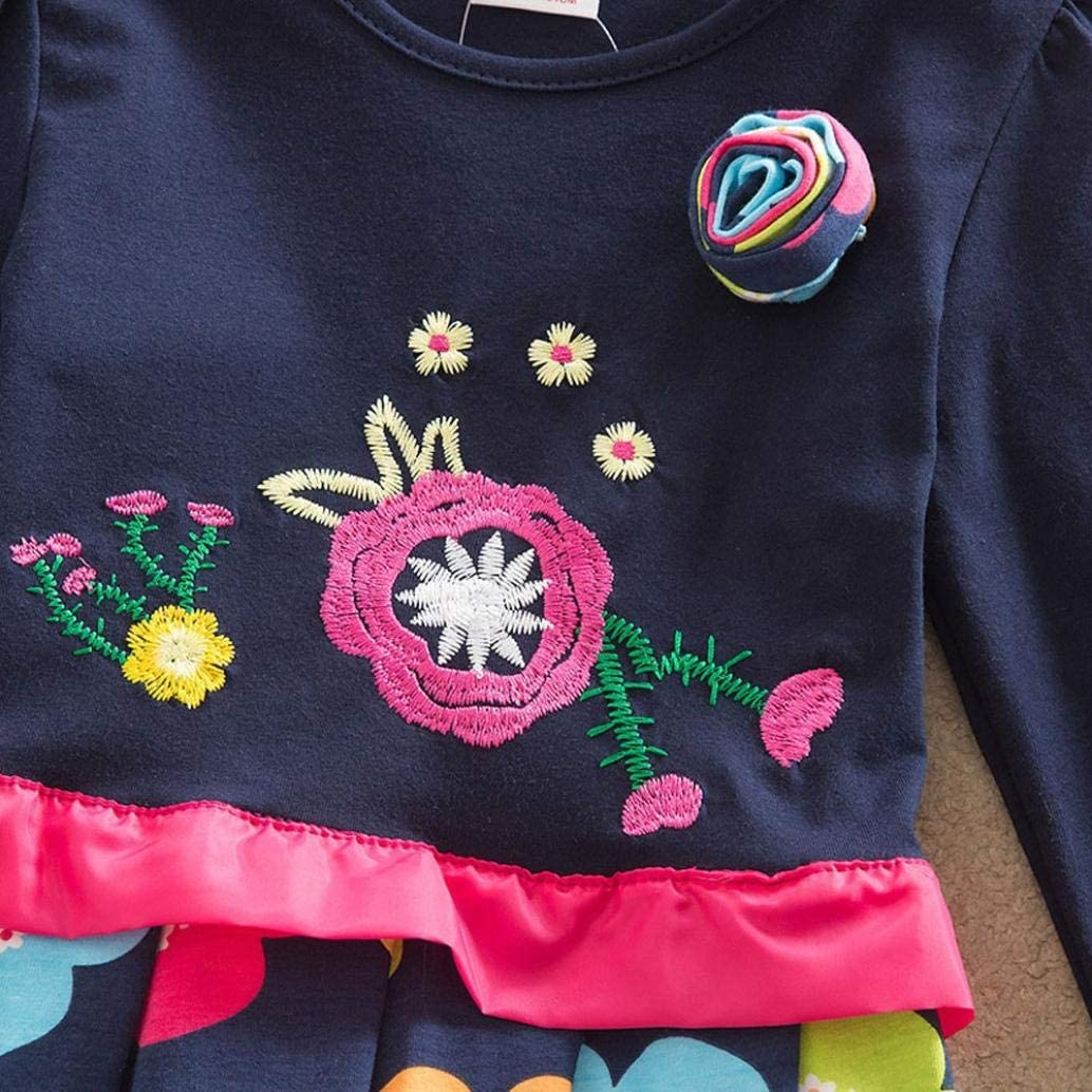 FORESTIME Toddler Baby Boys Girls Autumn Dress Long Sleeves Cartoon Flower Applique Patchwork Pleated/Adorable Clothes
