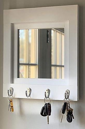 Amazon Com Quakertown Farmhouse Mirror With Hooks 20 Paint Colors Mirror For Wall Entryway Decor Entryway Organizer Key Holder For Wall Key Organizer Key Rack Wall Hook Coat Hook Handmade