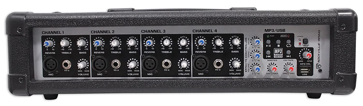 Rockville RPM45 2400w Powered 4 Channel Mixer, USB, 3 Band EQ, Effects, Phantom RPM45 AMP