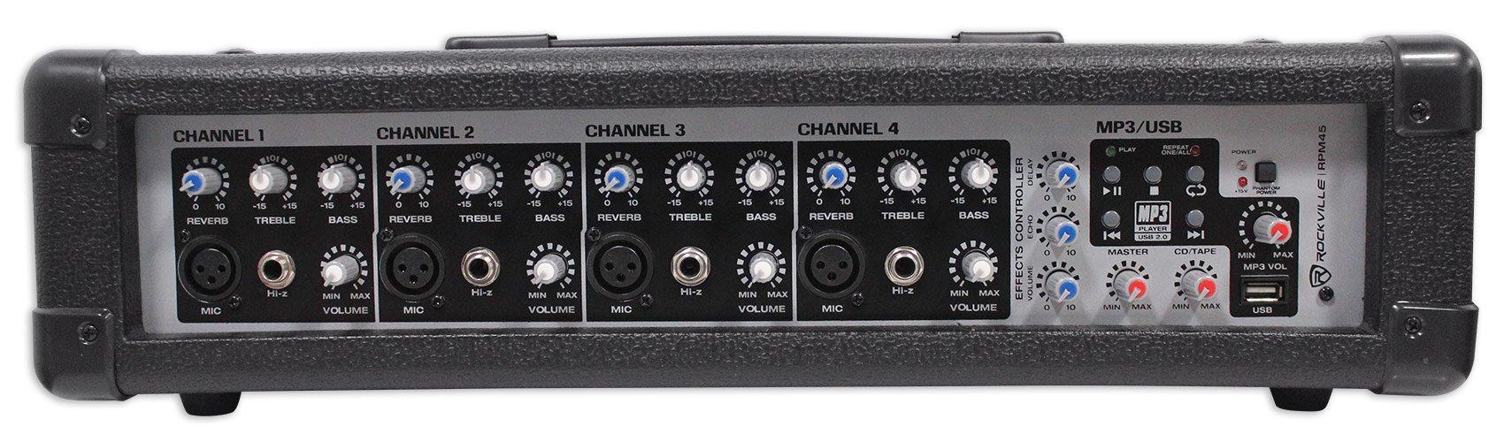 Rockville RPM45 2400w Powered 4 Channel Mixer/Amplifier w USB/EQ/Effects/Phantom