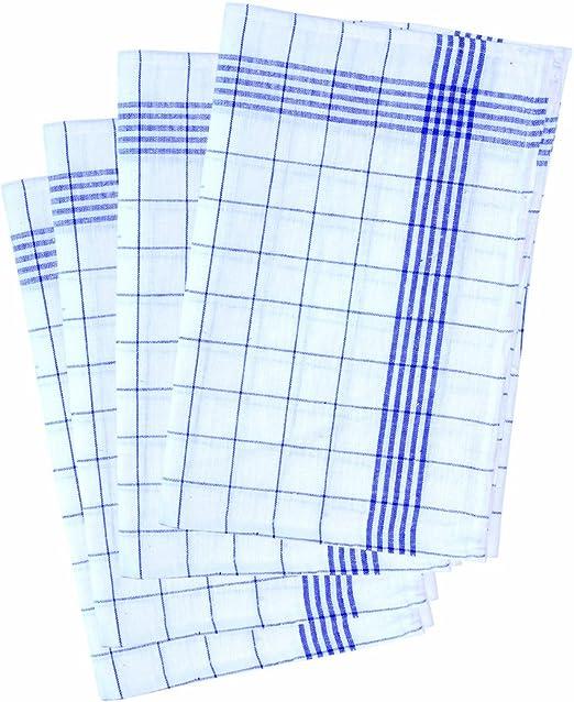 10er Pack  Geschirrtücher 50x70 Halbleinen weiß//blau Geschirrtuch