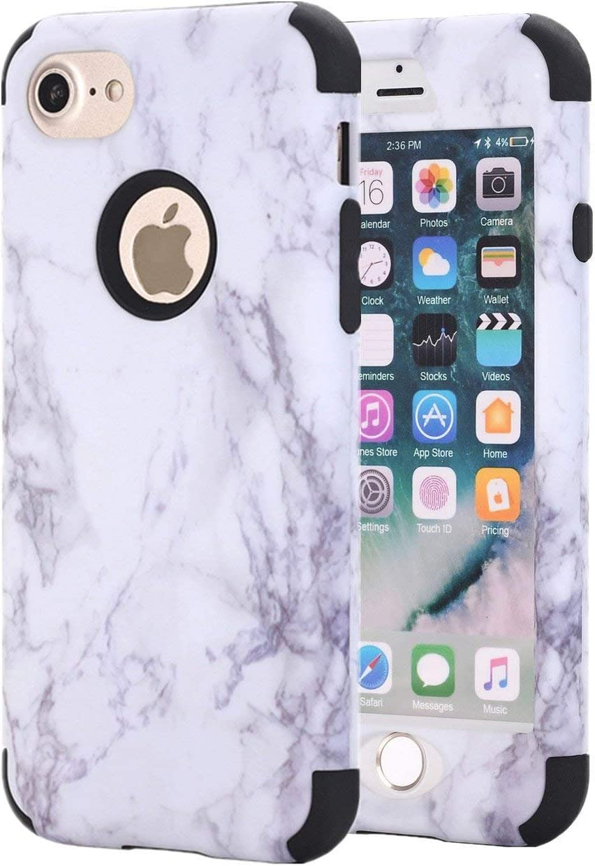 Ankoe iPhone 7 Case, iPhone 8 Case, White Marble Stone Pattern Shockproof Full Body Protective Cover Dual-Layer Slim Soft Flexible Silicone and Hard PC for Apple iPhone 7/8 (Black)