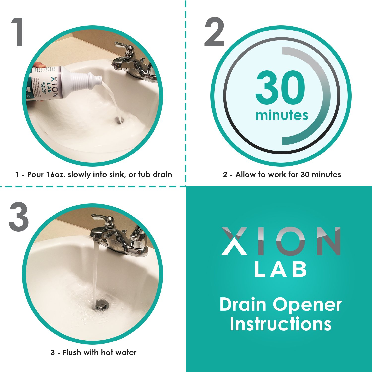Xion Lab Fast-Acting Drain Opener – Liquid Drain Cleaner for Hair ...