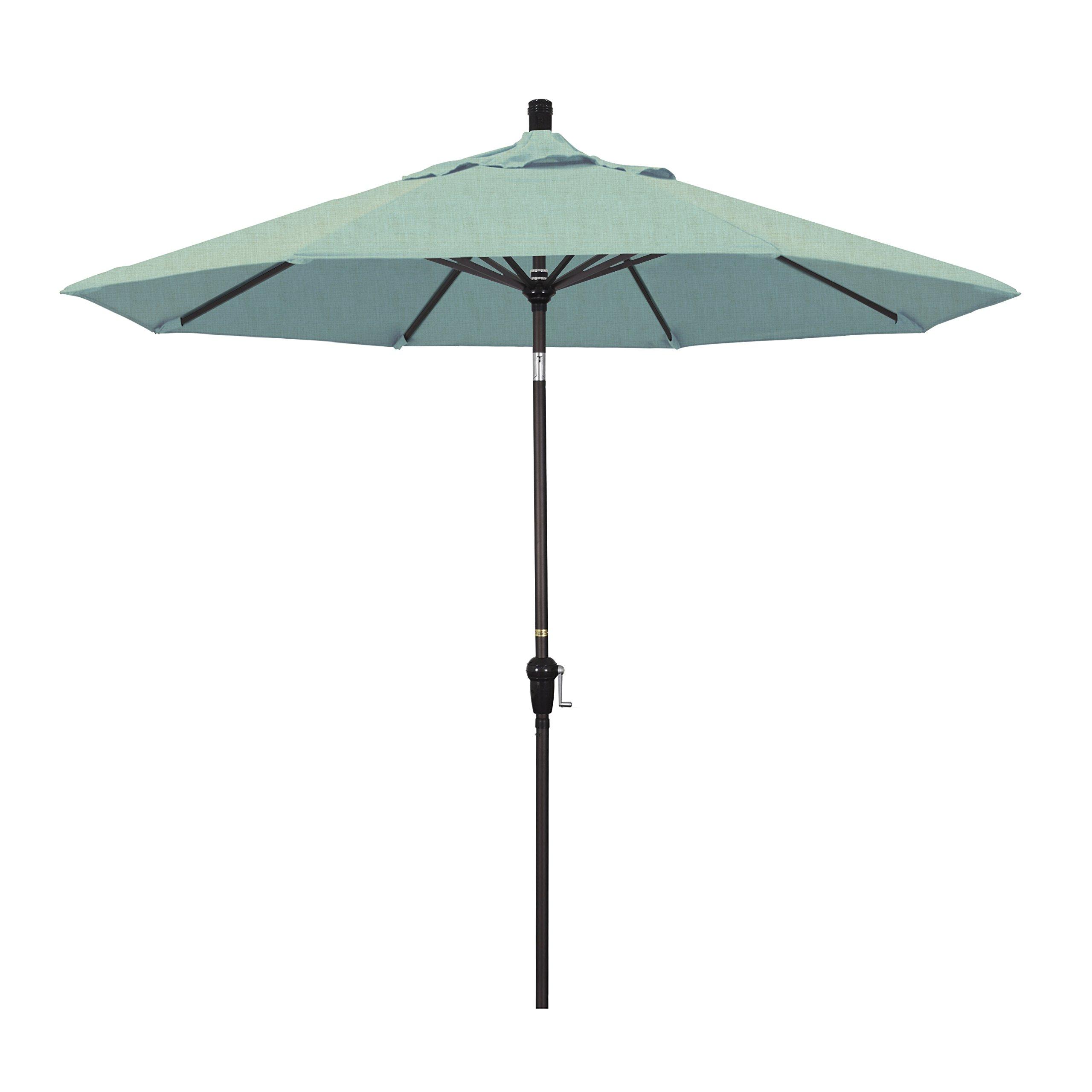 California Umbrella 9' Round Aluminum Market Umbrella, Crank Lift, Auto Tilt, Bronze Pole, Sunbrella Spa