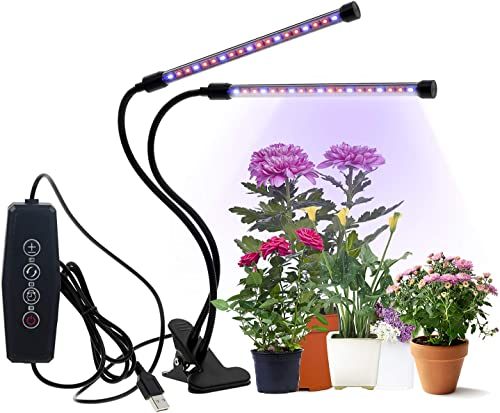 CPROSP Grow Lights 20W 40 LEDs Full Spectrum Dual Head Timing Dimmable for Indoor Plants, 5 Dimmable Brightness, Adjustable Gooseneck, 3 6 12H Timer