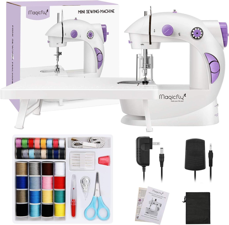 Magicfly Mini máquina de coser para principiantes, máquina de coser portátil de doble velocidad con mesa de extensión, ligero, kit de costura para el hogar, viajes ...