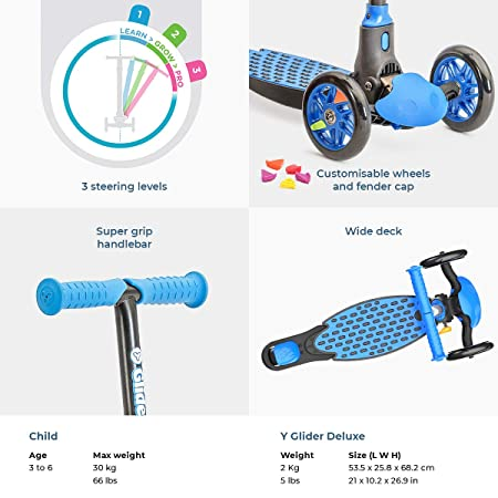 Yvolution Y Glider Deluxe Three Wheel Kick Scooter for Kids with Safety Brake for Children Ages 3 Years
