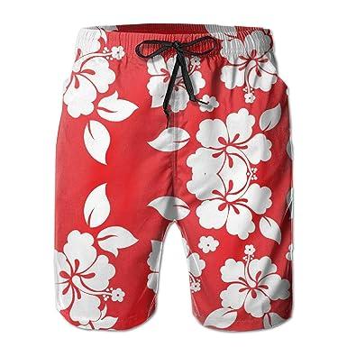 ae91d3613a8684 yting Fleurs hawaïennes Rouges Homme Short de Bain Séchage Rapide 3D ...