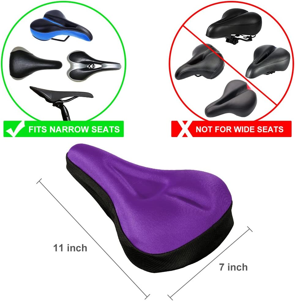 Gel Bike Seat Cover Soft Gel Bicycle Seat Bike Saddle Cushion with Water/&Dust Resistant Cover