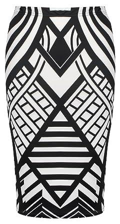 New Womens Ladies Stretch Bodycon Monochrome Tribal Wave Print Pencil Tube Skirt