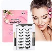 Magnetic Eyelashes with Eyeliner Kit,4D Upgraded Magnetic Eyelashes Kit with 7 Pairs of Different StylesMagnetic Eyelashes Natural Look,Easy to Apply
