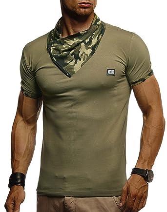 77e2b589a83ca LEIF NELSON Herren T-Shirt Tiefer Rundkragen