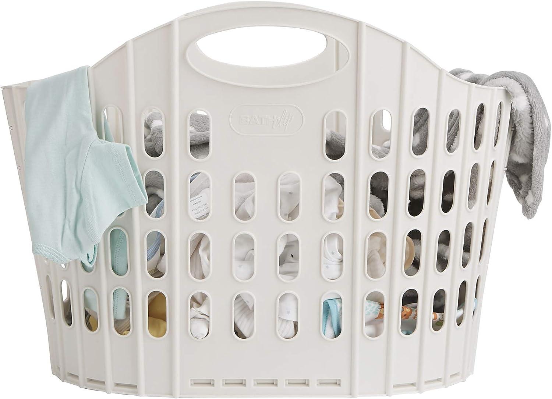 Mind Reader LFOLDBASK-IVO Folding, Collapsible Laundry, Foldable Storage, Bathroom, Bedroom, Home, 38 L, Ivory 38 Liter Basket