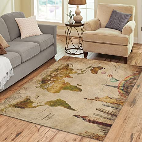 Amazon interestprint statue of liberty and retro vintage world interestprint statue of liberty and retro vintage world map area rug cover 7 x 5 feet gumiabroncs Image collections