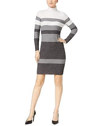 82bf5410838 Calvin Klein Womens Stripped Turtleneck Sweatshirt Dress at Amazon ...