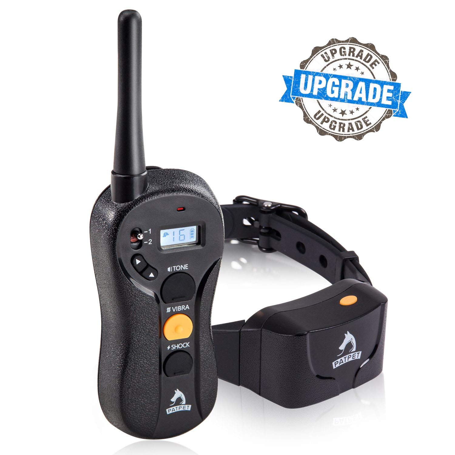 Patpet Dog Training Collar - Upgraded 1000Yd Remote Range,Blind Operation Remote Controlled, Rechargeable & Waterproof,Dog Shock Collar with Beep/Vibration/Shock Mode (Black)