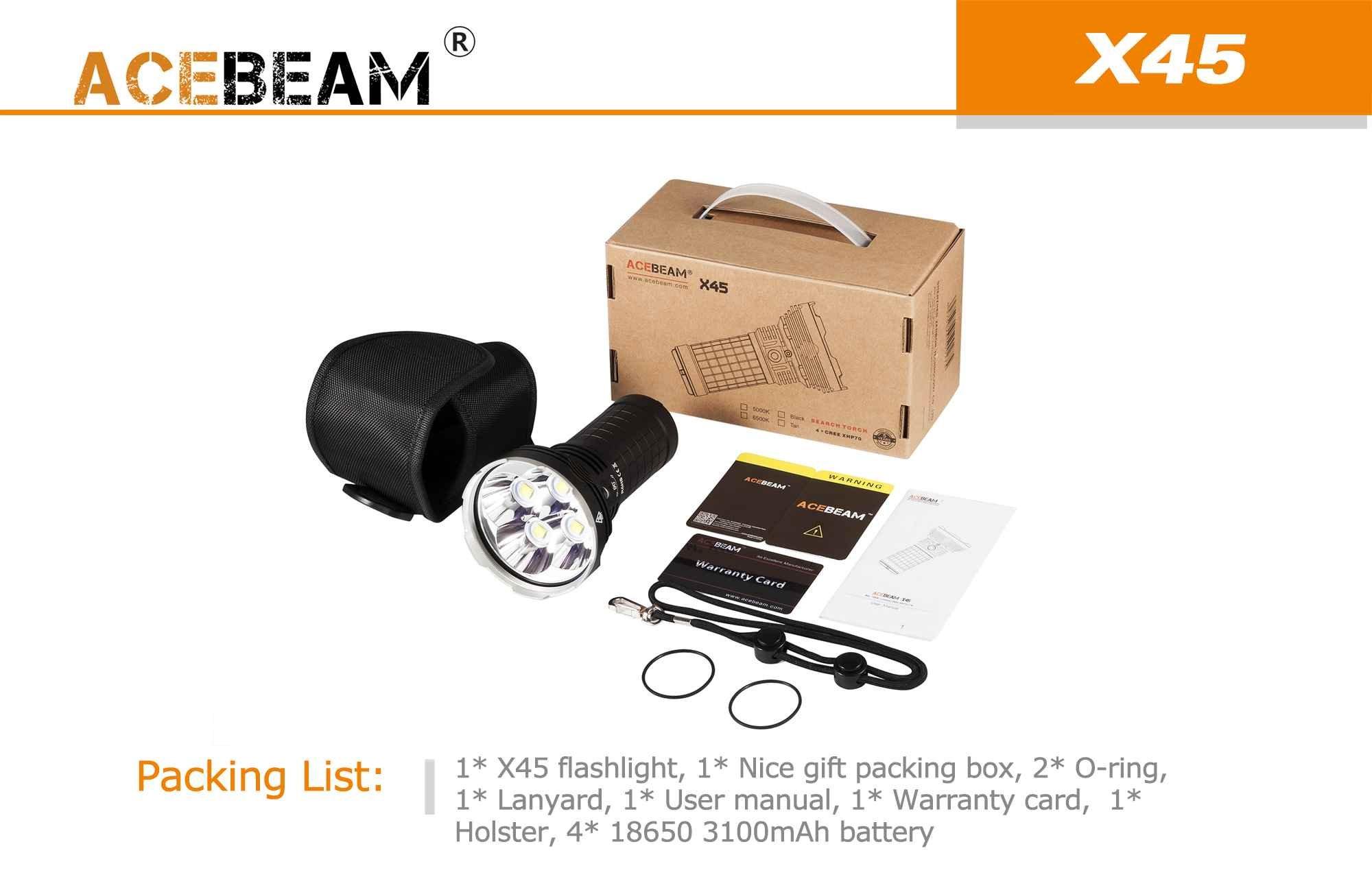 Acebeam X45 Gen II CREE XHP70.2 LED Flashlight -18,000 Lumens + 4x 18650 batteries + Andrew & Amanda Keychain Light (6500K)