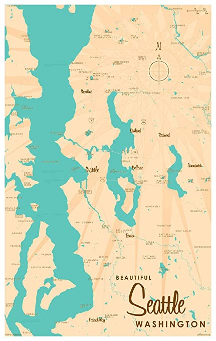 Amazon Com Seattle Washington Map Vintage Style Art Print By