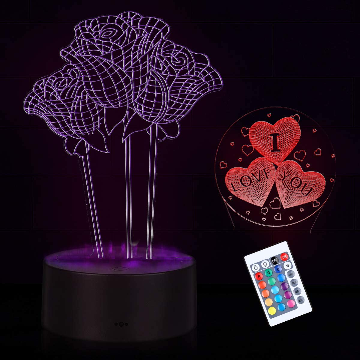 3D Night Light I Love You Sign Heart Night Light Rose 3D Optical Illusion Night Light Table Desk LED Lamp 16 Colors Changing Home Decor Valentines Day Birthday Romantic Gifts for Women Lover Girls