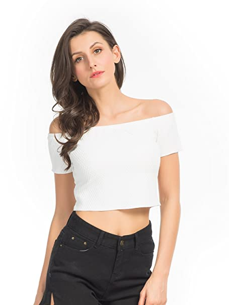 c3d60cd91cde87 CHARLES RICHARDS CR Women s Black Off Shoulder Tight Sleeveless Crop ...
