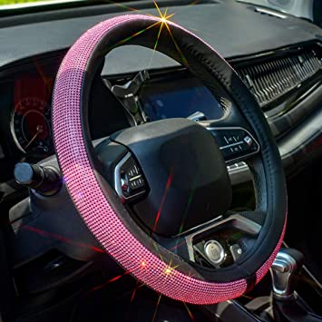 Black 15 inches for Universal fit with Bling Bling Crystal Diamond Pieces ZHOL Diamond Pieces and Plush Steering Wheel Cover