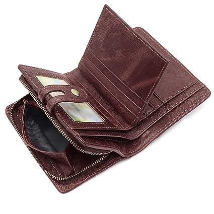 HNOOM Cartera para Hombre Bloqueo RFID Billetera de Hombres de Piel Pequeña con Muchos Bolsillos,Slim Bifold Monederos de Hombre con Crédito Tarjetas ...
