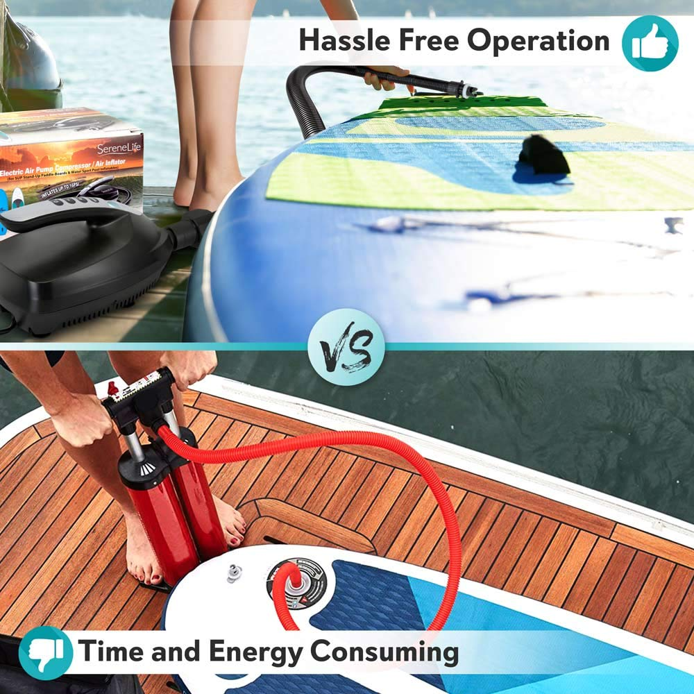 110W 12 Volt Quick Air Inflator w//LCD SereneLife SLPUMP20 0-16 Adjustable PSI Digital Electric Air Pump Compressor For Water Sport Inflatable SUP Stand Up Paddle Board