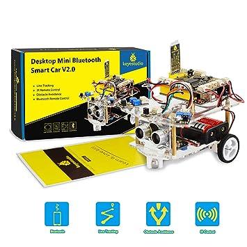 KEYESTUDIO Coche Robótico Inteligente con Tutorial, R3 Board, Sensor por Ultrasonidos y IR Control Remoto, Juguete Educativo para Niños Adolescentes para R3 ...
