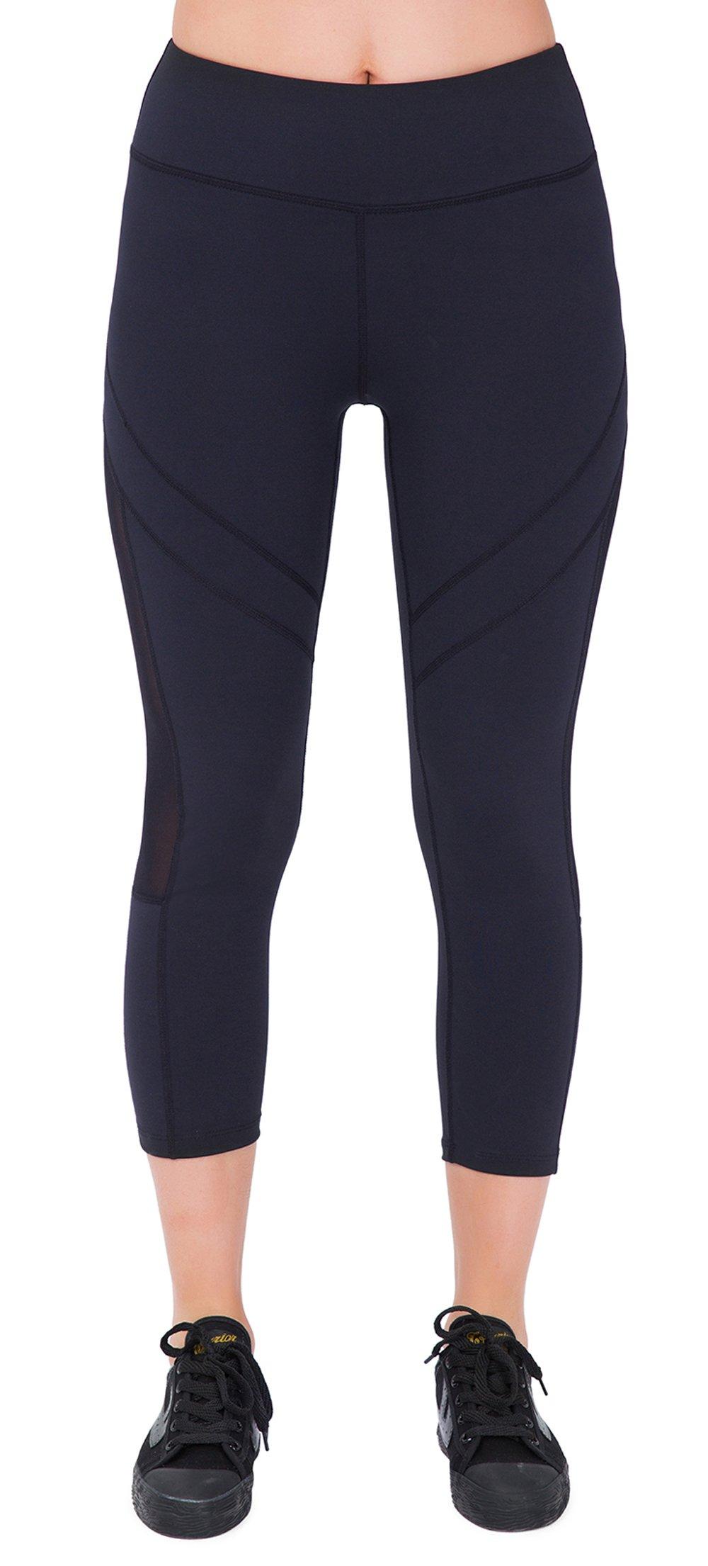SPECIALMAGIC Women's Mid Waist Side Mesh Dry Fit Workout Capri Leggings with Inner Pocket Black White L
