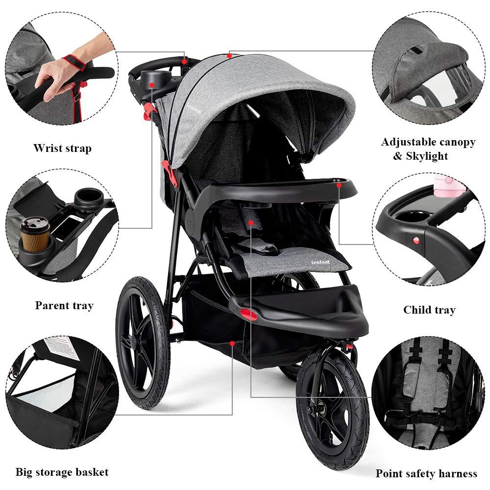 Baby Jogging Stroller Jogger Canopy Travel Lightweight Brake System Padded Seat