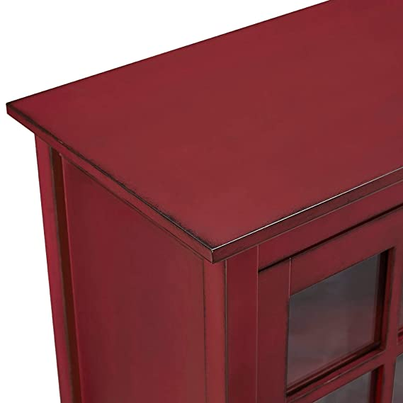 Amazon.com: Moderno armario de consola rústico rojo con 2 ...