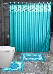 Gorgeous HomeDIFFERENT COLORS 15PC PRINTED DESIGNS BATHROOM BATH MATS SET RUG NON-SLIP CARPET SHOWER CURTAIN HOOKS (MOSAIC TURQUOISE)