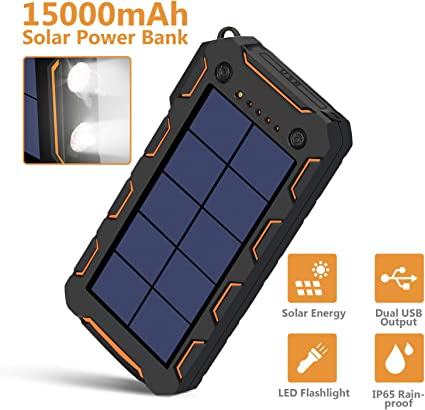 Amazon.com: AMAES Cargador Solar 15000mAh, Cargador Portátil ...