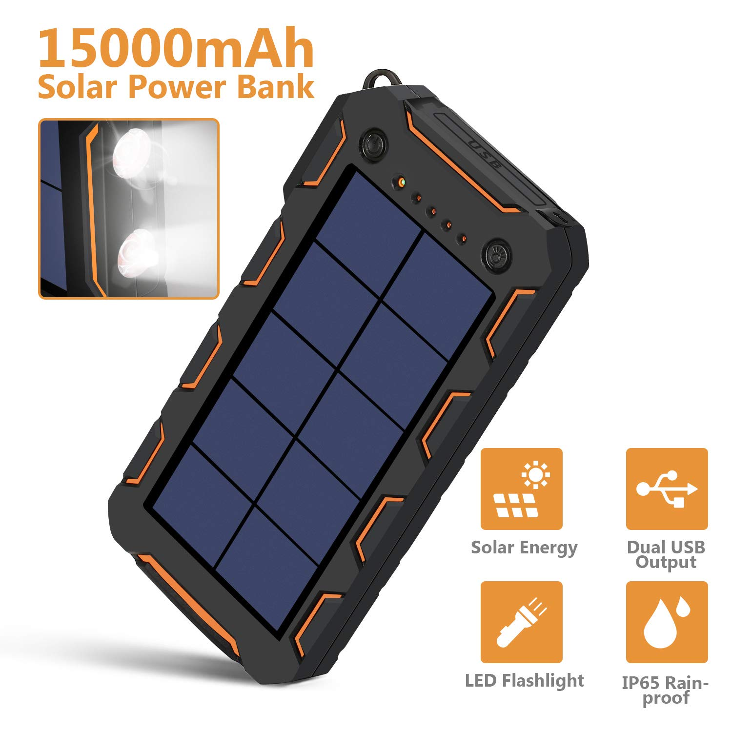 AMAES Solar Charger 15000mAh, Portable Phone Charger External Battery Pack with 1.5W High Efficiency Solar Panel, Dual USB Output Ports, Flashlight, Carabiner, IP65 Rainproof for Camping, Fishing by AMAES