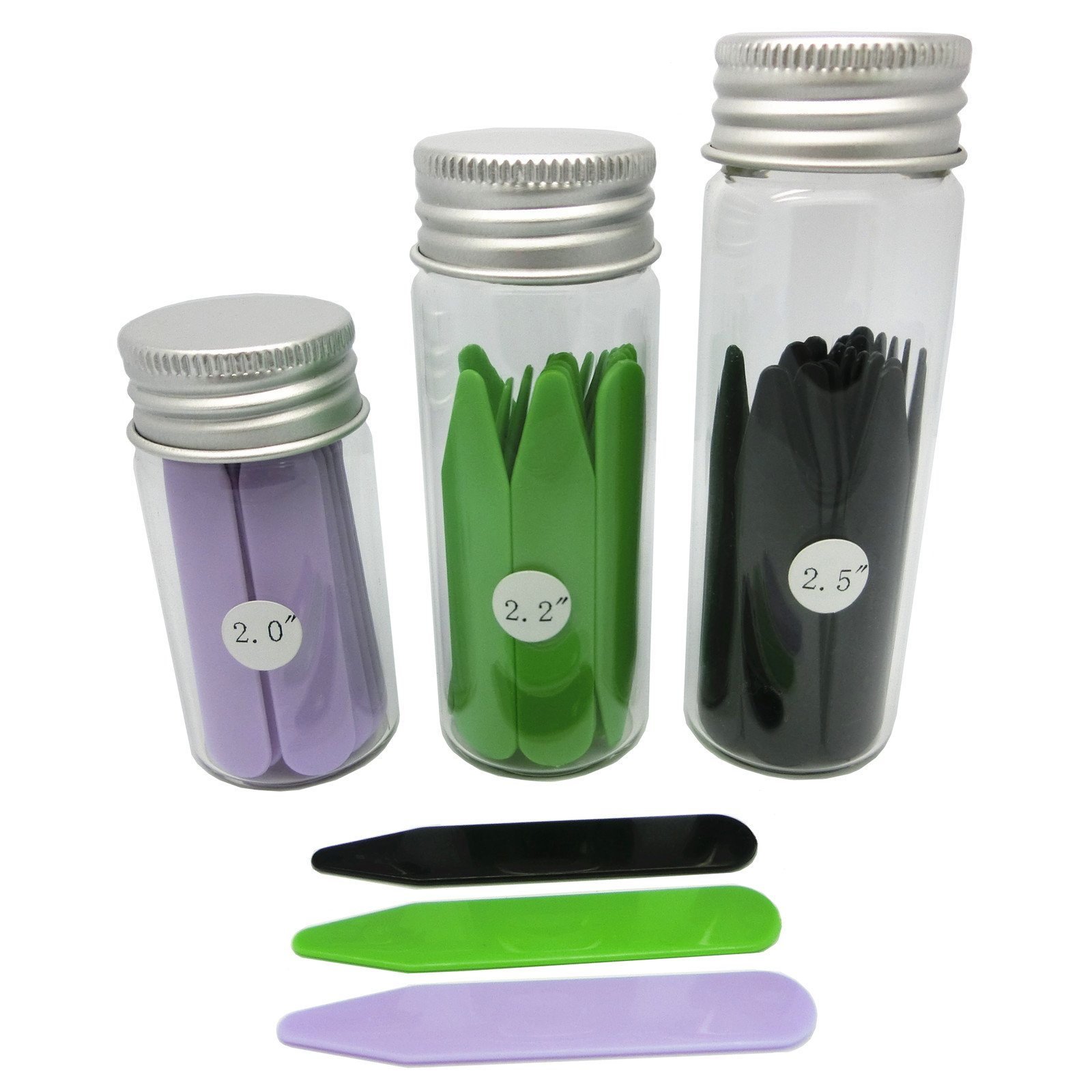 Shang Zun 48 Pcs Plastic Collar Stays in 3 Glass Bottles,3 Colors, 2''/2.2''/2.5''