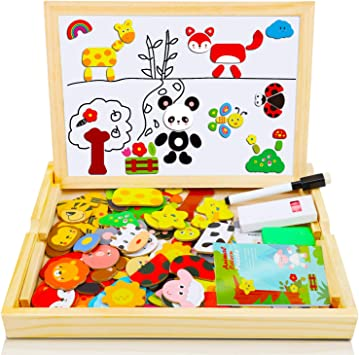 COOLJOY Magnetisches Holzpuzzle mit Doppelseitiger Tafel