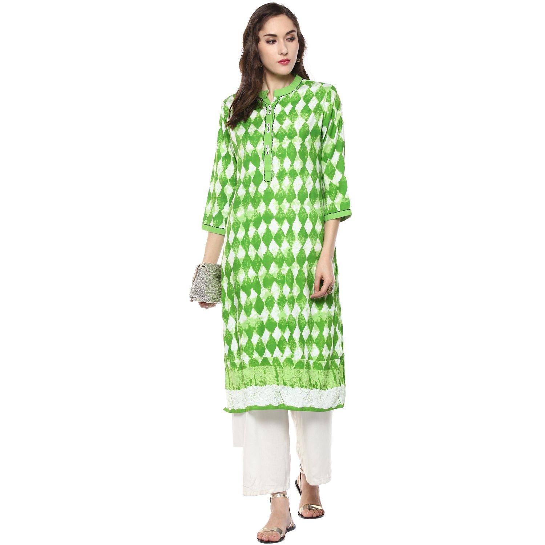 RIDAN Women's Cotton Green Straight Kurta (XL)