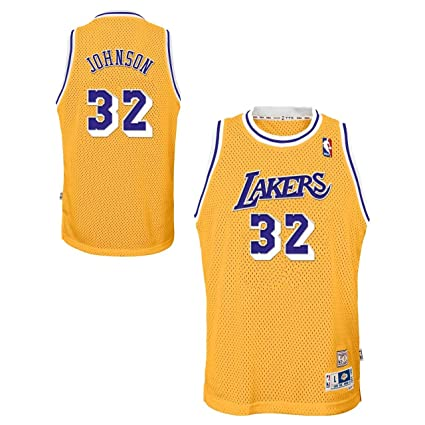 9ad345f4a Image Unavailable. Image not available for. Color  Outerstuff Magic Johnson  Los Angeles Lakers NBA Youth Throwback 1984-85 Swingman Jersey