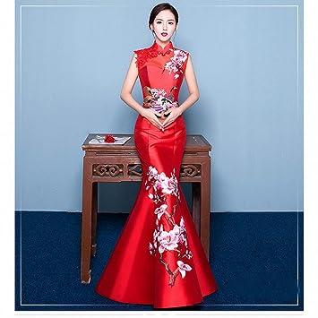 b64f47ddaa9 DRESS Chinese Cheongsam Hombro Retro Bordado Novia Degustación Vestido Rojo  Delgado Pez Cola Noche Banquete de la Fiesta