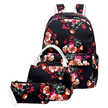9a53f029198e School Backpack for Teen Girls School Bags Lightweight Kids Girls School  Book Bags Backpacks Sets (05 Black/Floral)