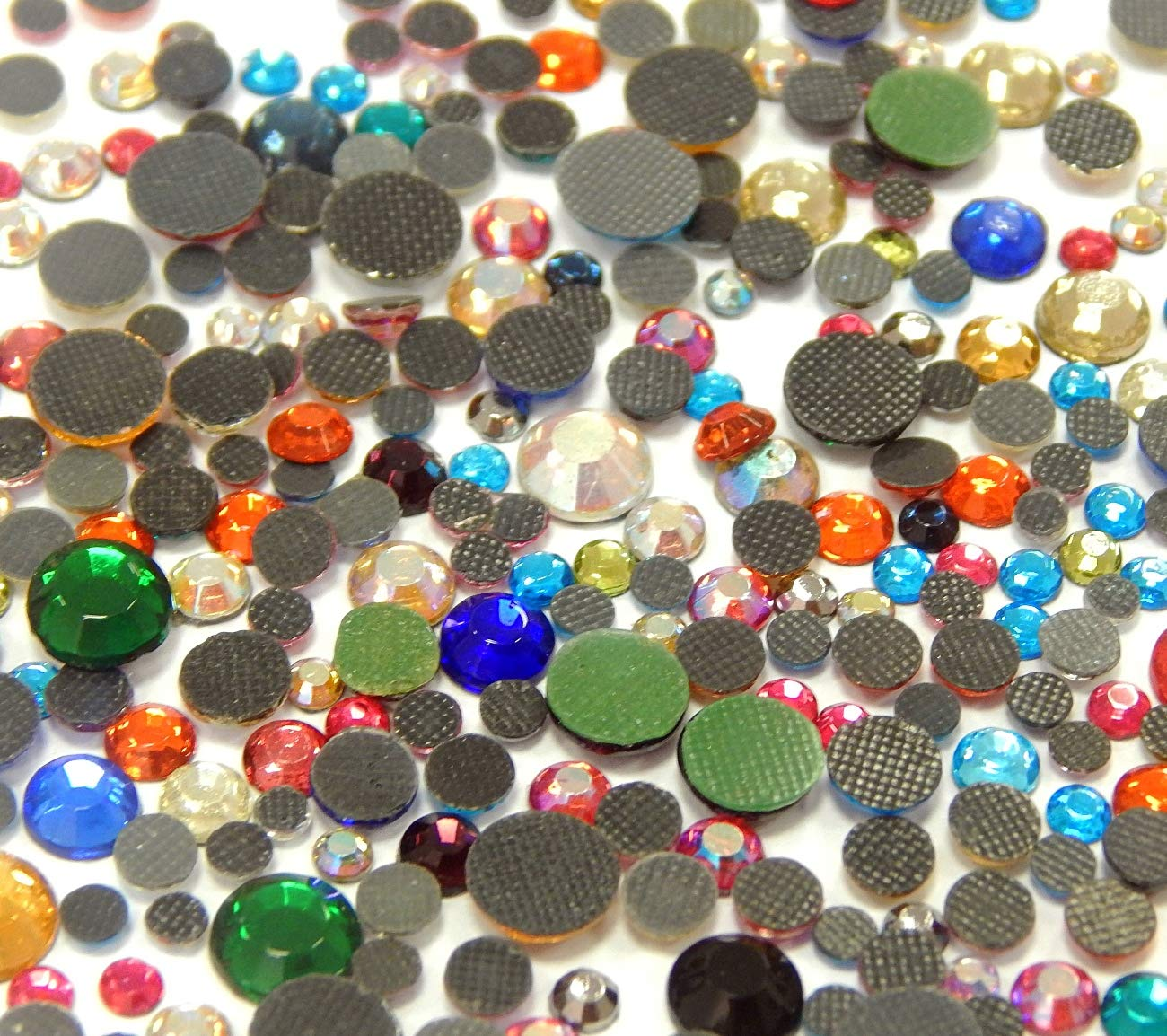 Perlin Hotfix Strasssteine Mix Set 2mm 3mm 4mm 5mm 6mm Bunte 1200stk AAA Qualit/ät zum Aufb/ügeln Glitzersteine Rhinestone Selbstklebend Farbe der Mischung 455