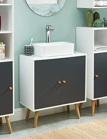 Baita - Mueble bajo Lavabo de baño, Color Blanco, Gris, 0: Amazon ...