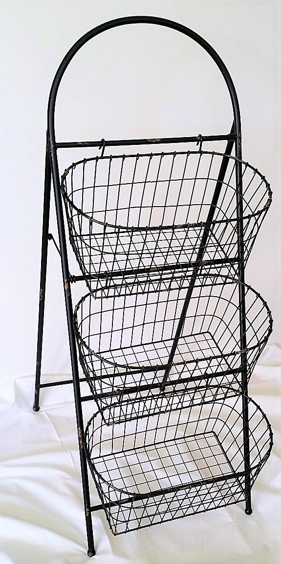 Rustic Farmhouse 3 Tier Farmer's Market Wire Basket Display Stand