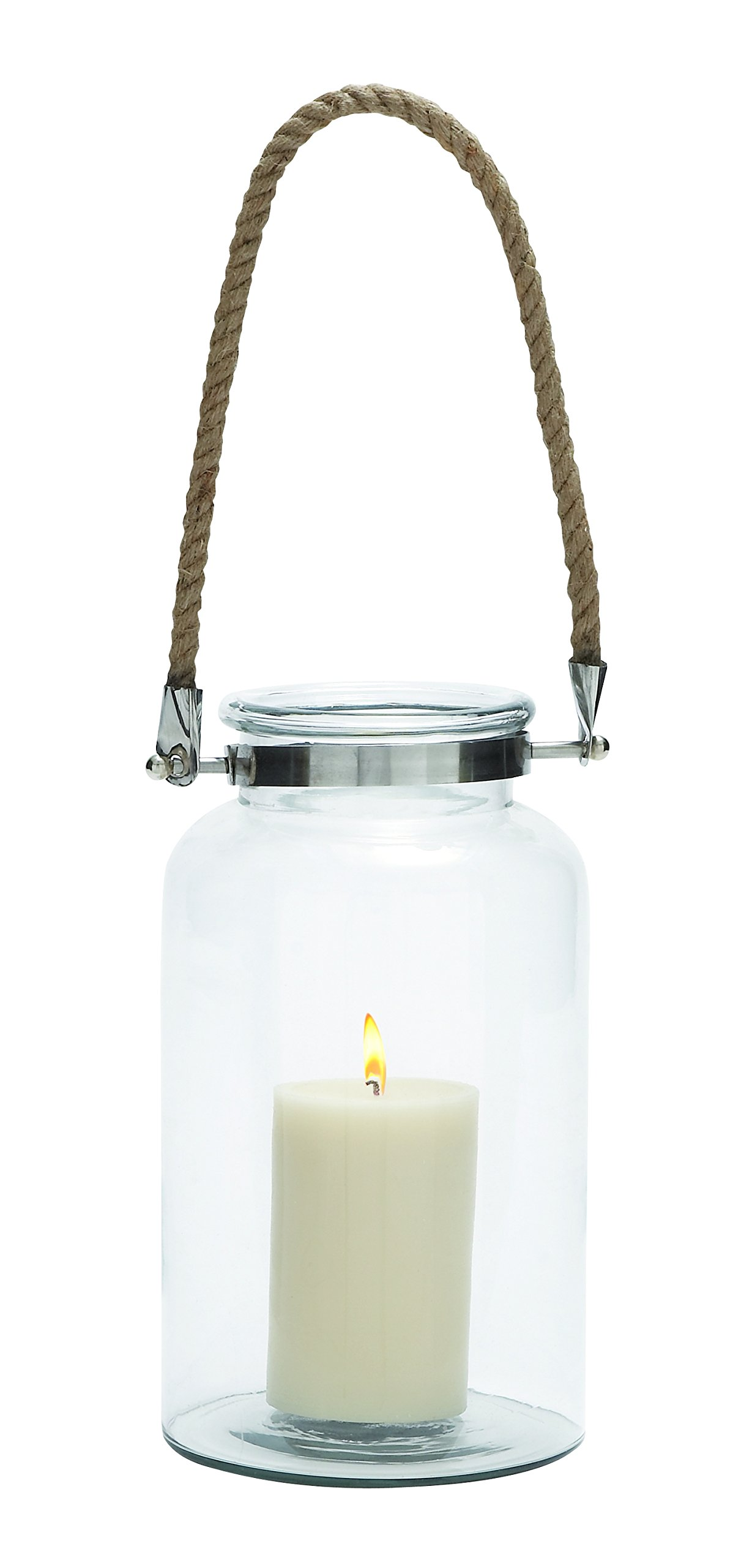 Plutus Brands Exclusively Styled Glass Metal Lantern Rope Handle