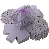 UNIQLED Pack of 60 Butterfly Laser Cut Wedding Favor Box Chocolate Gift Candy Boxes Bridal Baby Shower Party Cubic with Ribbons (Purple)
