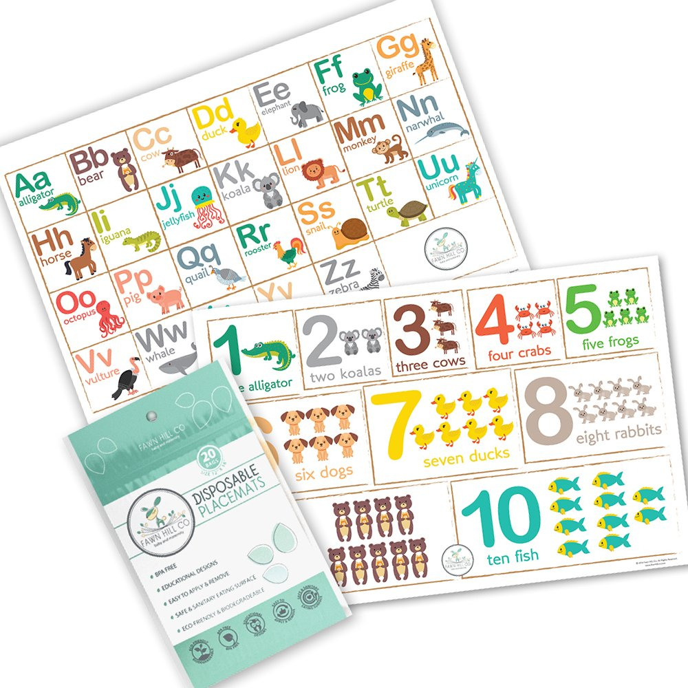Fawn Hill Co Disposable Placemats for Children - Table Top Design with Adhesive Sticky Backing - 60 Count - Educational Animal Design FAWN HILL CO.