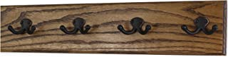 """product image for Oak Wall Mounted Coat Rack with Aged Bronze Dual Style Hooks 4.5"""" Ultra Wide (Walnut, 20"""" x 4.5"""" with 4 Hooks)"""