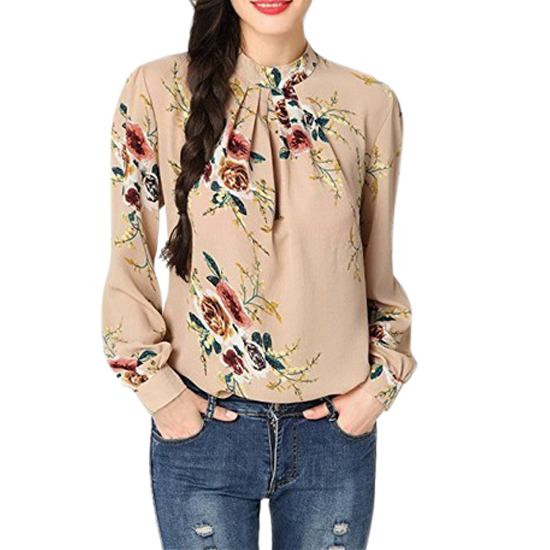 CHNS Women Flowers Print Shirts Long Sleeves High Cpwl Neck Chiffon Blouses