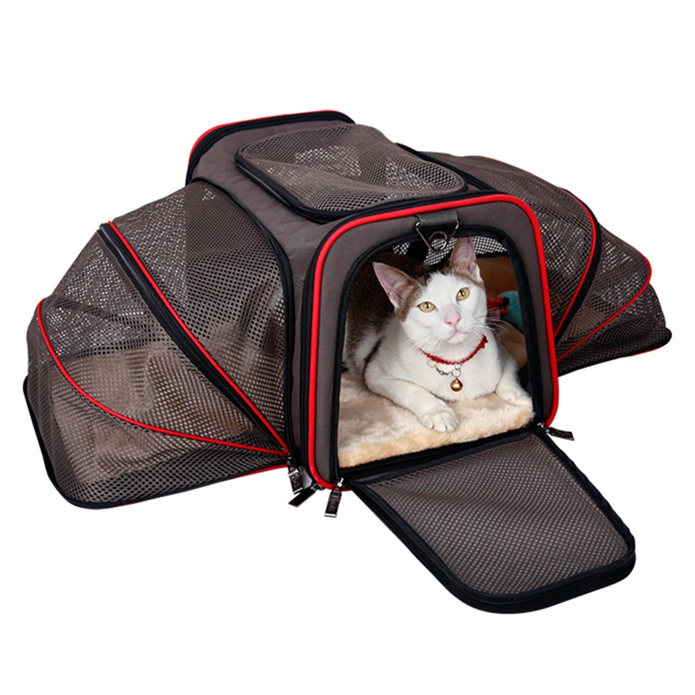 Coffee Minofious Dog Carries Cat Backpack Handle Shoulder Soft-Sided Travel Tote with Fleece Bedding Safety Lock (Brown)